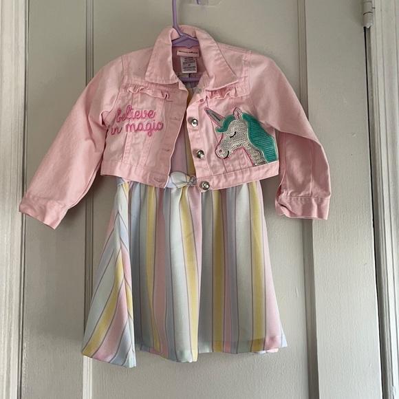 Toddler dress set with denim jacket